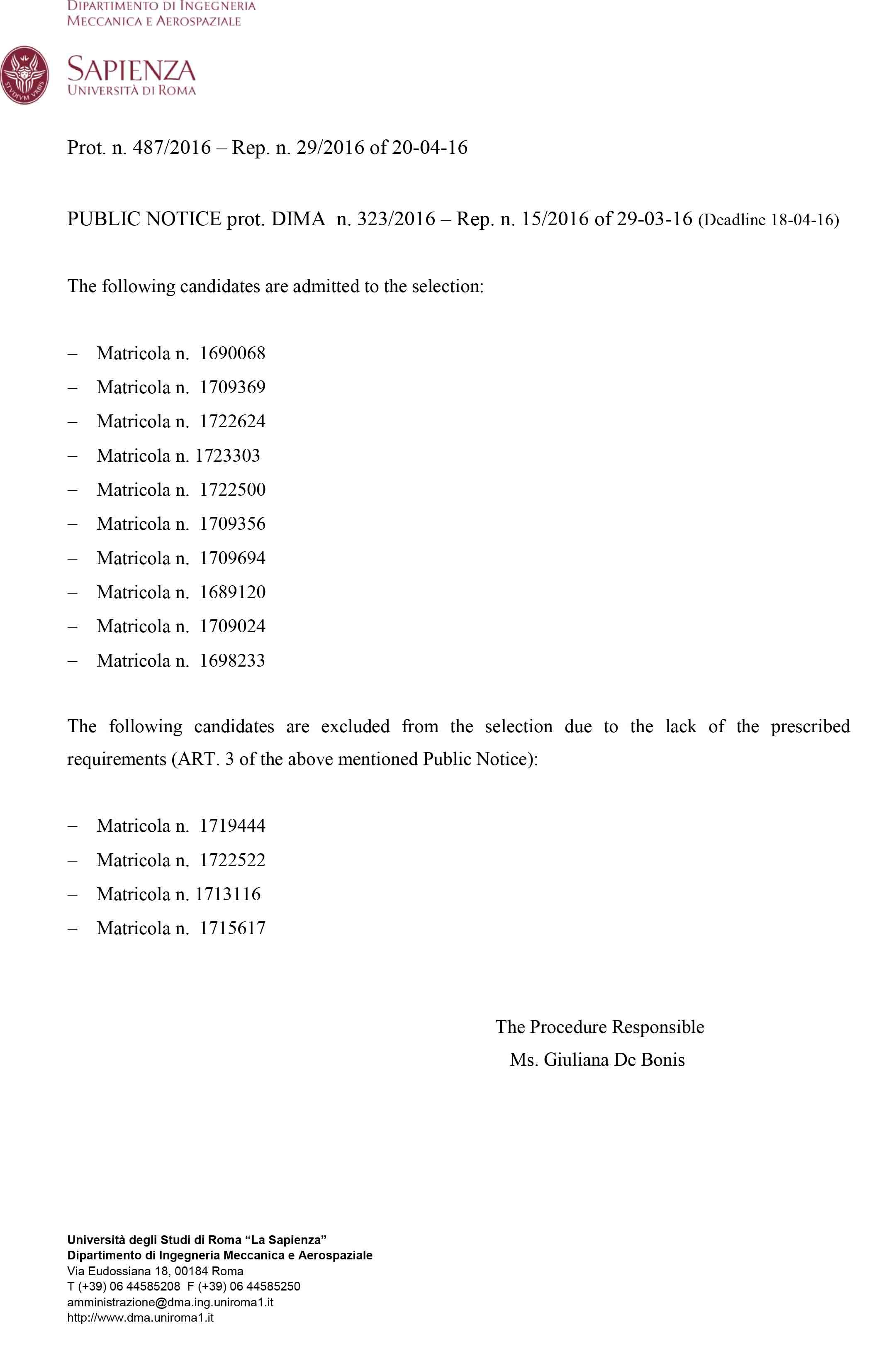 Consiglio d 39 area di ingegneria meccanica sapienza for Elenco studi di architettura roma